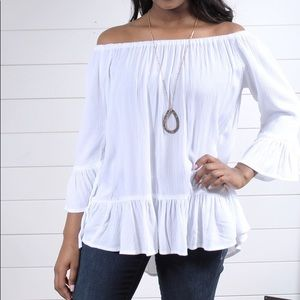 Beach Lunch Lounge White Off shoulder top